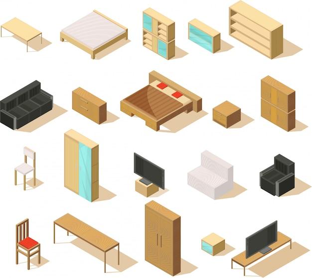 Мебель изометрическая набор изолированных предметов с двуспальными кроватями, диванами, креслами, креслами, тумбочками и телевизором, векторная иллюстрация