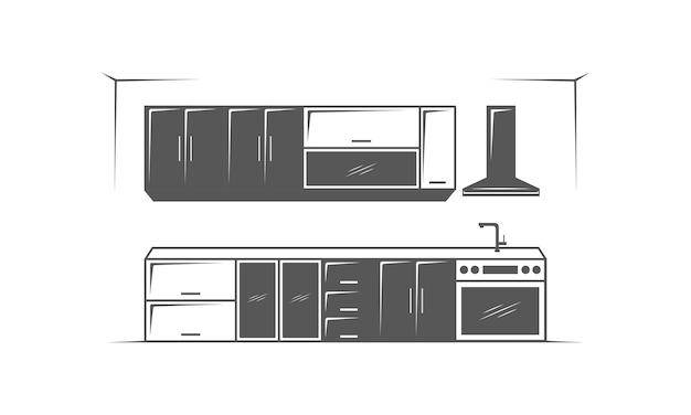 Furniture kitchen room minimalist on white background logo