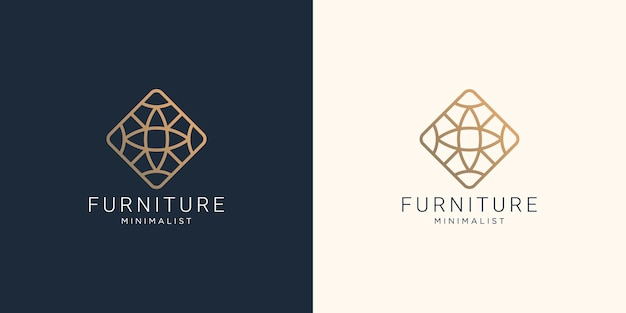 Furniture line art style logo design with abstract shape concept line gold color design inspiration.
