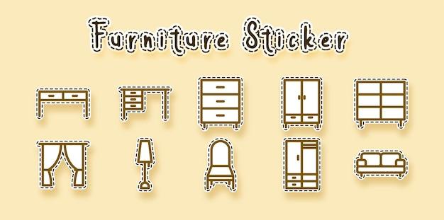 Furniture line art Free Vector