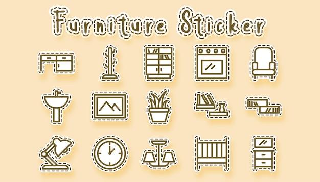 Furniture line art Premium Vector