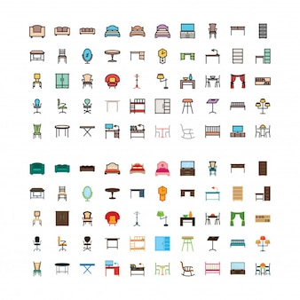 Furniture linefilled and flat 100 icons set