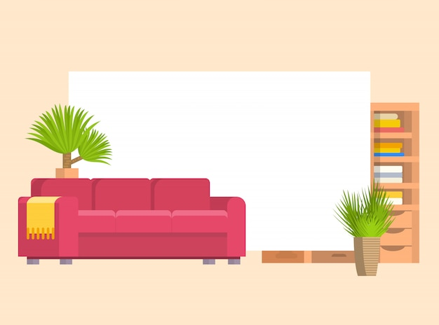 Furniture in living or bedroom objects set with leather sofa and wooden shelf with frame and books vector cartoon illustration. stylish furniture with home plants.