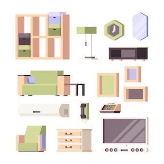 Мебель. гостиная предметы интерьера комнатные растения стулья столы шкаф кровать стулья ортогональная коллекция