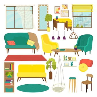 Furniture for living room set, vector illustration. sofa, chair, table for modern interior design and house decoration collection. isolated on white armchair, bookshelf, carpet, lamp and flat mirror.