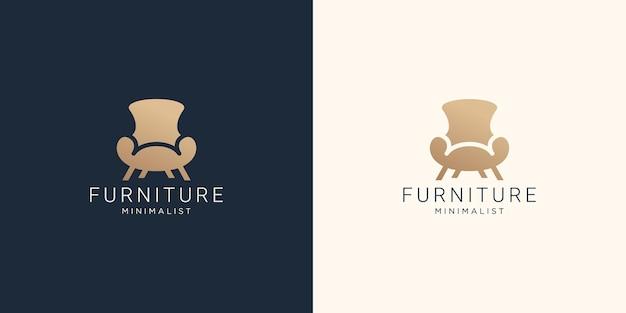 Furniture logo chair for store interior design Premium Vector