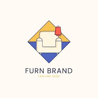 Concetto di logo di mobili con poltrona