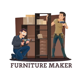 Furniture makers assembling cupboard with shelves