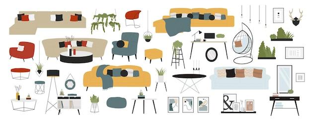 Furniture modern interior decor design for living room furnishing elements collection