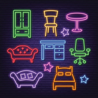 Furniture neon icons set