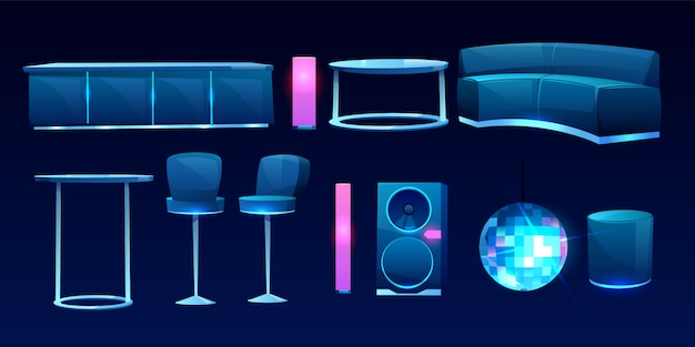 Furniture for night club or bar, interior design