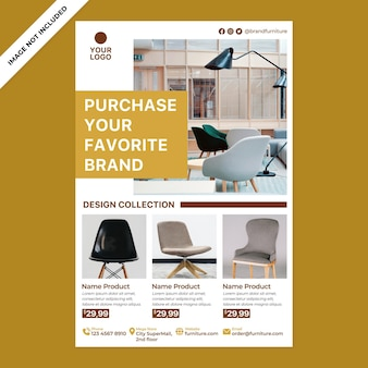 Furniture poster promotion in flat design style