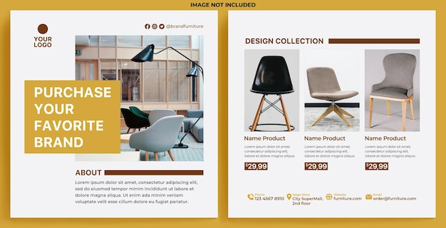Furniture promotion feed instagram in flat design style
