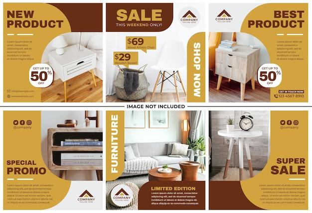 Furniture promotion instagram post set