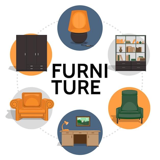 Мебель круглый шаблон в плоском стиле