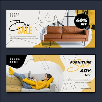 Furniture sale banners collection template with image