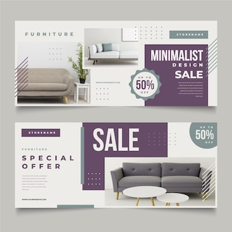 Furniture sale banners collection with image template