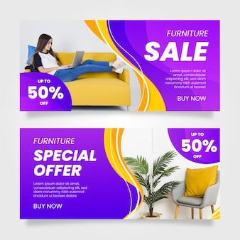 Furniture sale banners collection with photo