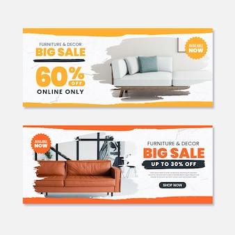 Коллекция баннеров для продажи мебели с изображением