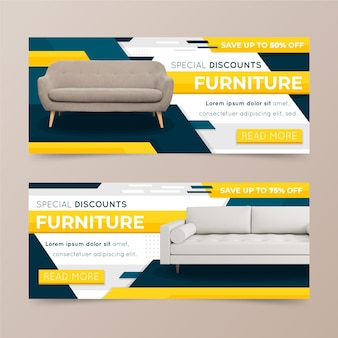 Furniture sale banners concept