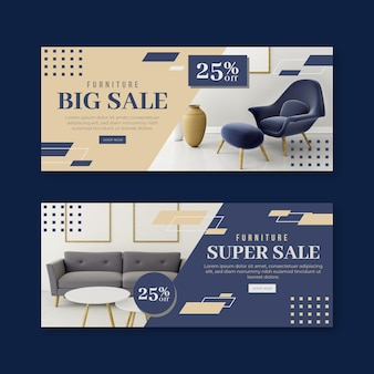 Furniture sale banners set with image