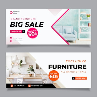 Furniture sale banners set with photo