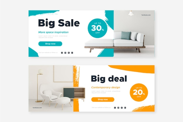 Furniture sale banners set with picture