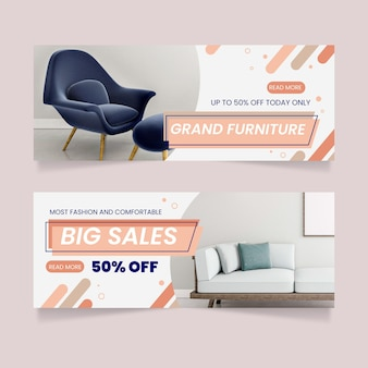 Furniture sale banners template design