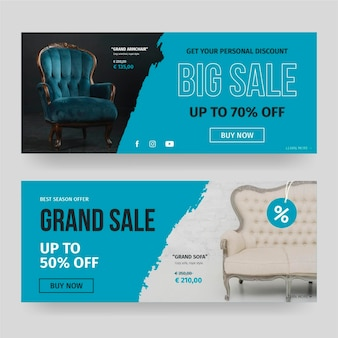 Furniture sale banners template with photo