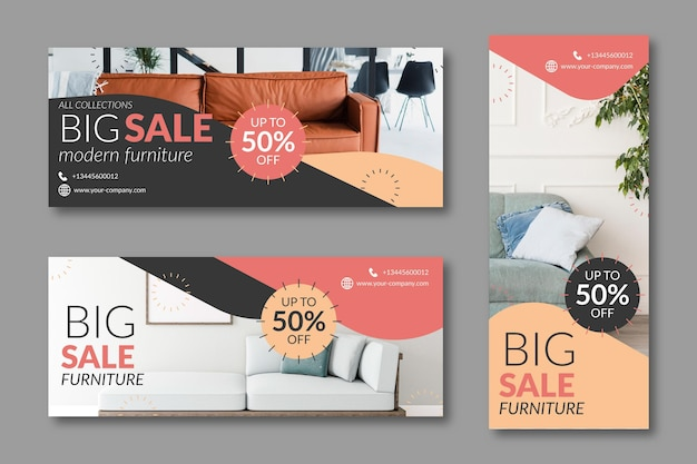 Furniture sale banners with discount