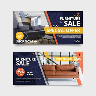 Furniture sale banners with photo