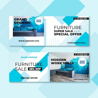 Furniture sale banners with picture