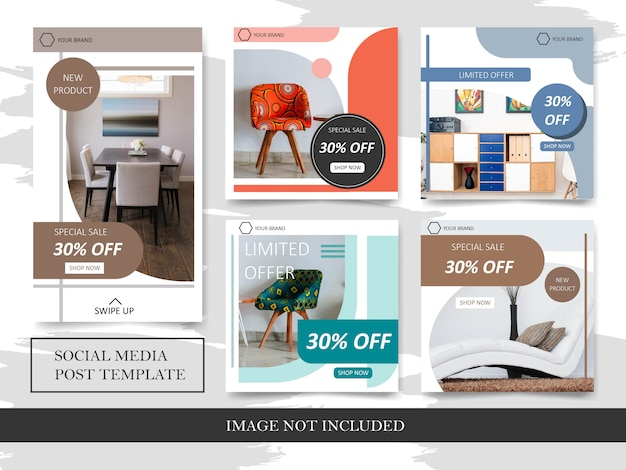 Furniture sale discount templates for social media post
