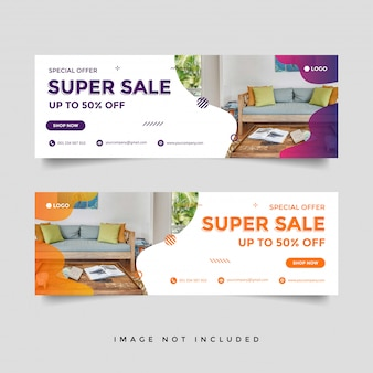 Furniture sale facebook cover banner ad template