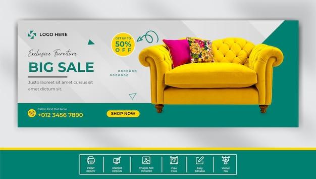 Furniture sale facebook cover template  design