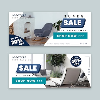 Furniture sale horizontal banners template with photo