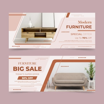 Furniture sale horizontal banners with photo