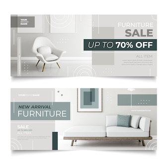 Furniture sale horizontal banners with special discounts