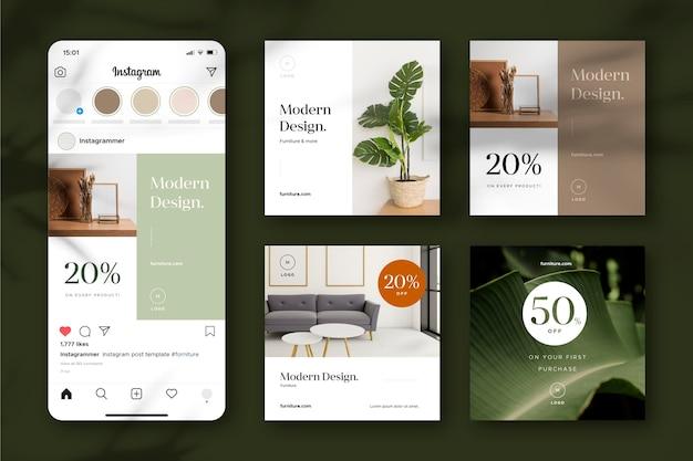 Confezione di vendita di mobili ig post con immagine