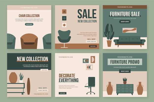 Vendita di mobili ig post set con foto