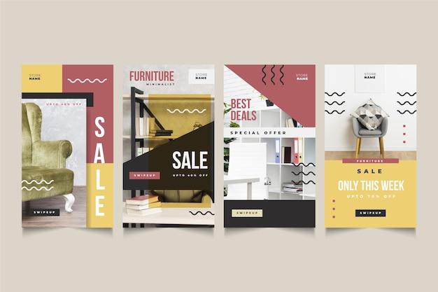 Confezione di storie di vendita di mobili con immagine
