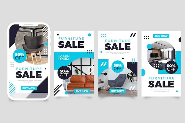 Storie di vendita di mobili con immagine