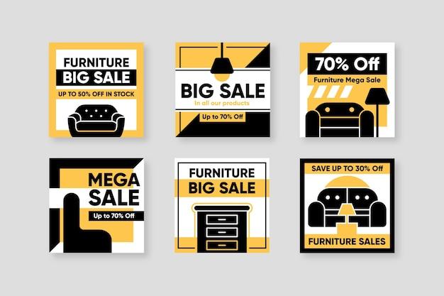 Collezione di post di instagram di vendita di mobili