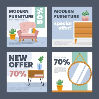 家具販売インスタグラムポストコレクション Premiumベクター