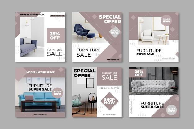 Post di instagram di vendita di mobili con foto