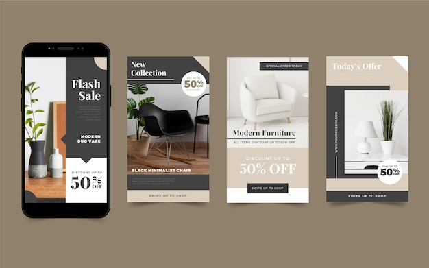Furniture sale instagram stories with photo