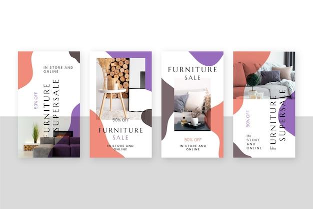 Collezione di storie di instagram di vendita di mobili Vettore gratuito