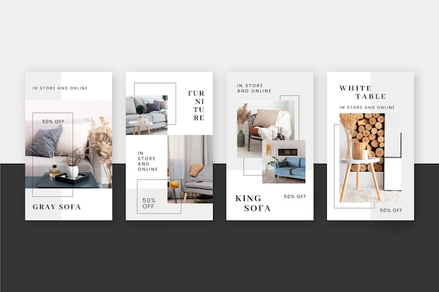 Collezione di storie di instagram di vendita di mobili