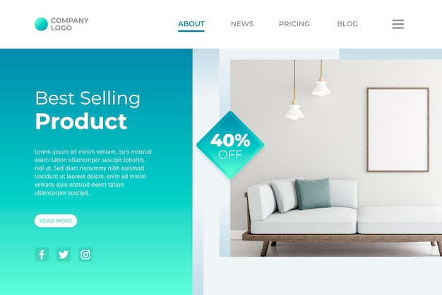 Furniture sale landing page template