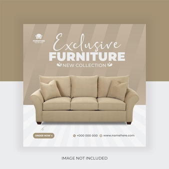 Furniture sale social media banner post template and stories